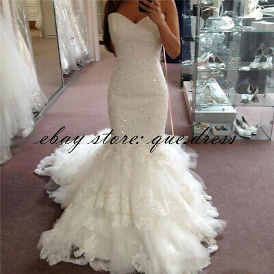 Vintage Beaded Lace Mermaid Wedding Dresses Sweetheart Court Train Bridal Gowns
