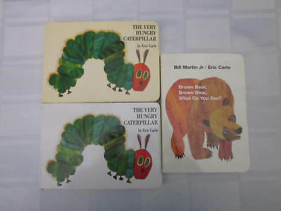 LOT 3 BOARD BOOKS ERIC CARLE The VERY HUNGRY CATERPILLAR and BROWN BEAR Book