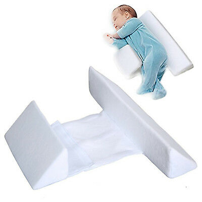 Memory Foam Baby Infant Sleep Pillow Support Wedge Adjustable White Cotton FN