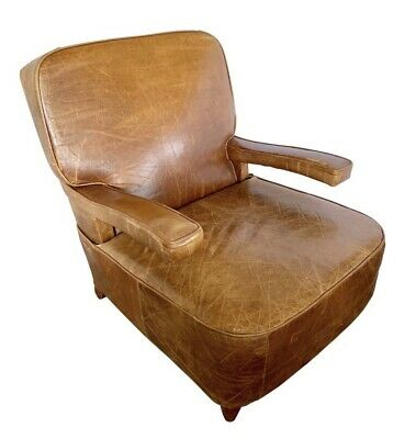 Art Deco Style Mid Century French Brown Leather Lounge Chair