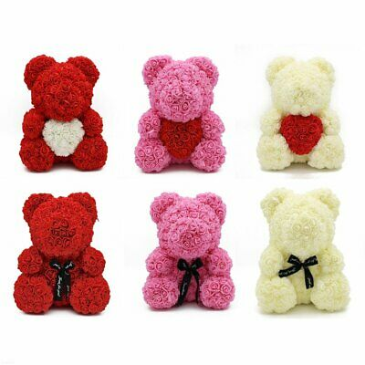 """15"""" Teddy Rose Bear /w Heart bow 2019 Valentine Birthday Gifts For Her FN"""