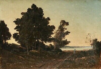 19th CENTURY LARGE FRENCH OIL CANVAS - FIGURE AT SUNSET BY THE COAST FOREST