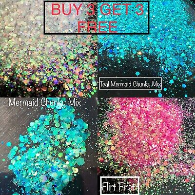Chunky Mixed Glitter Bag Festivals Face Makeup body Hair Cosmetic Nails Eye
