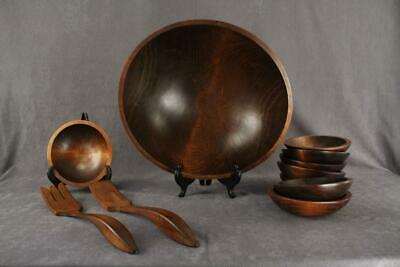 MCM CANADA Mid Century Modern Woodenware Wood Salad Bowl Serving Set & Utensils