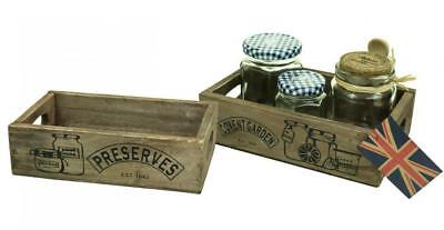 Brown Covent Garden Preserves Double Sided Vintage Wooden Storage Crate Box