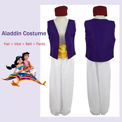 4PCs Aladdin Prince Cosplay Costume Adult Mens Outfit Fancy Dress Halloween AU
