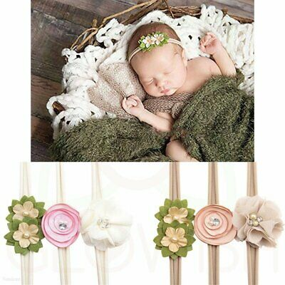Handmade Newborn Baby Girls Flower Headband Infant Toddler Knot Hair Band Set FN