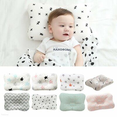 Newborn Baby Infant Cotton Pillow Positioner Prevent Flat Head Anti Roll FN