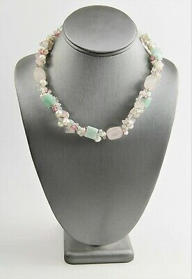 ESTATE VINTAGE Jewelry STERLING SILVER PEARL ROSE QUARTZ AVENTURINE NECKLACE