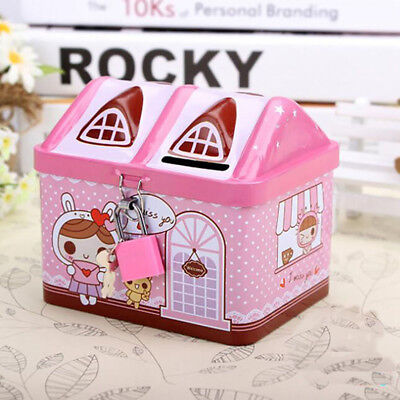 Money Save Box Lovely Pink Piggy Bank Money Coin Box Bear House Model Gift L