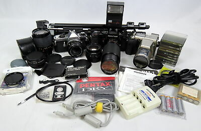Lot 3 Cameras & Accessories Olympus Pentax Cokin Filters Lenses Tripod Flashes