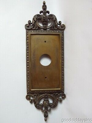 Large Antique Brass Backplate for Door Knobs Knocker or Sconce 7 wide x 21 tall