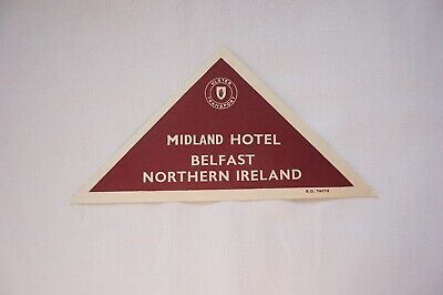 c30s Northern Ireland Irish Railway Luggage Label Belfast Midland Hotel