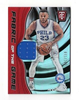 JUSTIN ANDERSON NBA 2017-18 TOTALLY CERTIFIED FABRIC OF THE GAME (76ers)
