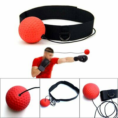 Boxing Punch Exercise Fight Ball Head Band Reflex Speed Training Speedball GH