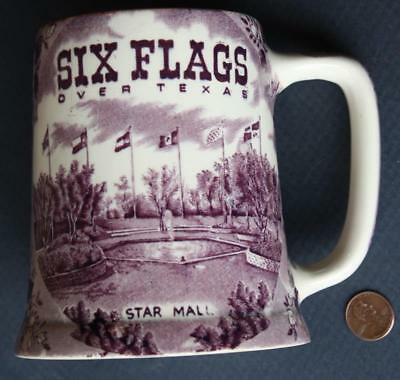 1960s Era Arlington Six Flags Over Texas Staffordshire large sized beer stein!*