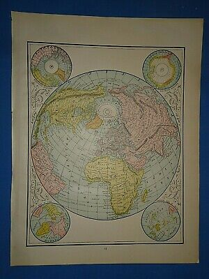 Vintage 1891 NORTHERN or LAND HEMISPHERE Old Antique Original Atlas Map 51419
