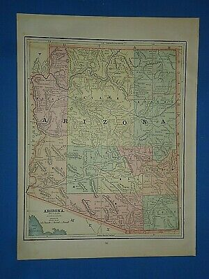 Vintage 1891 ARIZONA TERRITORY Old Antique Original Atlas Map 51419