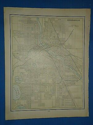 Vintage 1891 MINNEAPOLIS, MINNESOTA Old Antique Original Atlas Map 51419