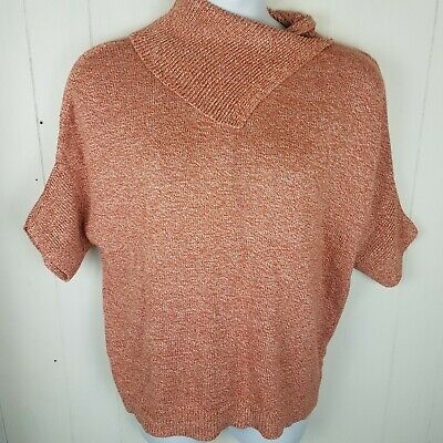 Cabi #3011 Oversized S Foldover Cowl Neck Orange Short Sleeve Sweater