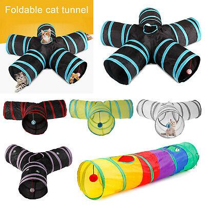 Foldable 5 Holes Pet Cat Tunnel Toys Pets Animals Kitten Rabbit Play Tunnel
