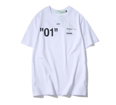 New  2019 Unisex T-Shirt OFF#WHITE Printed Round Nneck Letter Loose Tee