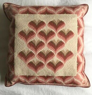 Lovely Boho Pink Red  VINTAGE  Retro CUSHION COVER Tapestry Wool Needlepoint