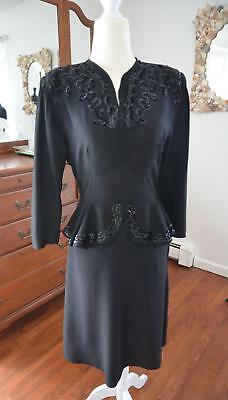 STUNNING! Vtg 40s Beaded Black Rayon Crepe Peplum Cocktail Party Evening Dress S