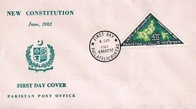 PAKISTAN FDC 1962 New Constitution Triangular Stamp Map East & West  Pakistan