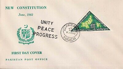 Pakistan Fdc 1962 New Constitution Triangular Stamp Map East & West Pakistan ..