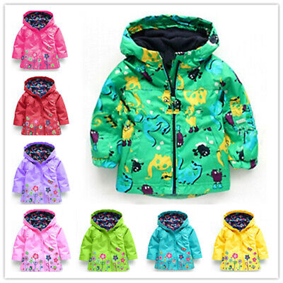 Kids Baby Boys Girls wind-proof rain Outerwear Clothes Floral Hooded Coat Jacket