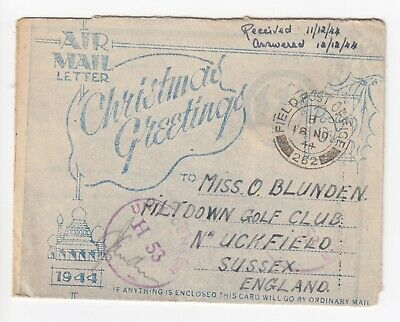 WW2 Burma 1944 Elephant South east Asia Illustrated Xmas Letter Censor FPO 262