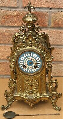 Large Gilt Cased Japy Freres Fancy Looking Mantel Clock With Handpainted Dial
