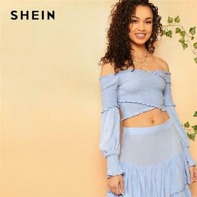 217f0f6f0d SHEIN Cross Wrap Shirred Off the Shoulder Crop Top Zip Back Layered Ruffle  Maxi