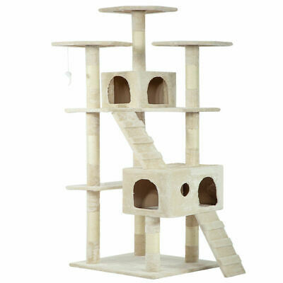 "73"" Cat Tree Scratcher Play House Condo Furniture Bed Post Pet House Beige New"