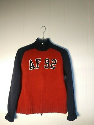 b06193c0 Abercrombie Fitch Mens Wool Zip Front Sweater XL Muscle AF 92 Red Blue