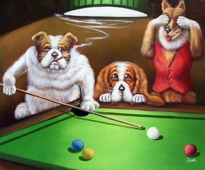 Dogs Playing Pool Classic American Art STRETCHED Oil On Canvas Painting  20X24