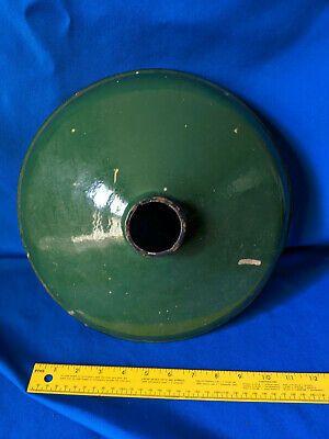Green Enamel Porcelain Antique Industrial Light Shade Cover Lamp Fixture VTG