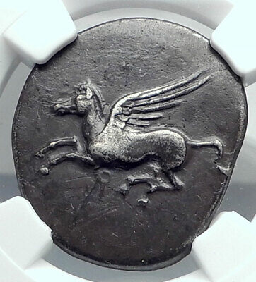 CORINTH Ancient Silver GREEK Coin ATHENA DOLPHIN ROOSTER PEGASUS NGC i78066