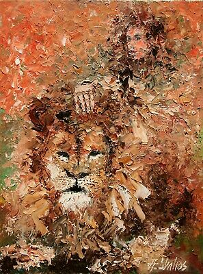 SOLD Greek Goddess Artemis Lion Mythology ORIGINAL OIL PAINTING Andre Dluhos