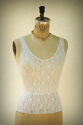 edb25bfa39ce0a VINTAGE 80S RHAPSODY White Crop Top Eyelet Blouse Juniors Buttons In ...