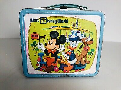 Vintage 1960's Mickey Mouse Metal Walt Disney World Aladdin Lunch Box RARE