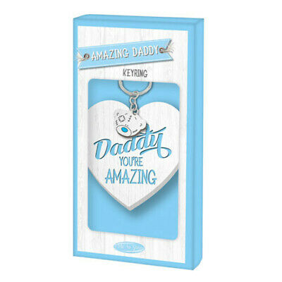 AMAZING DADDY Keyring Soft Blue Lettering Me To You Fathers Day Keyring