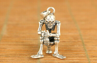 925 sterling silver skeleton frame statue personality pendant collectable