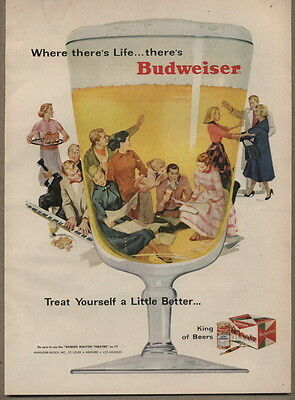 1956 Vintage Ad Budweiser Beer Adult Party Bud Cans