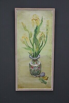 Original painting signed by artist floral still life framed 1960's by E. WREFORD