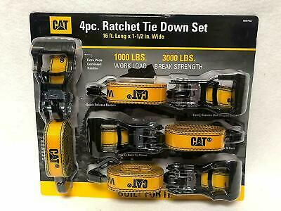 "CAT Heavy Duty Ratchet Tie Down Straps Caterpillar 4 Piece Set Pack 1.5""x16ft"