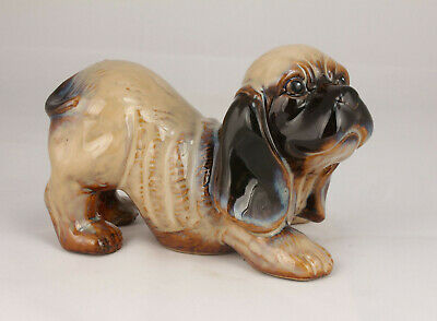 China Handwork Embossment Natural Glaze Porcelain Cocker Spaniel Statue