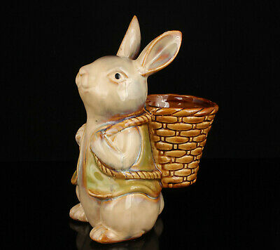 China Handwork Embossment Natural Glaze Porcelain Rabbit Statue Penholder