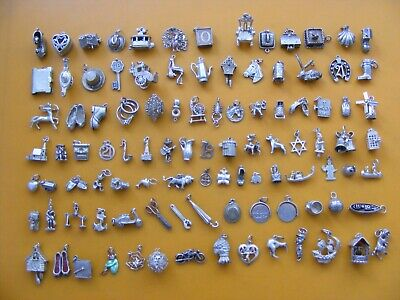 A18 Vintage Sterling Silver Charms Charm Rings Bells Shell Well Lamp Clock Boot